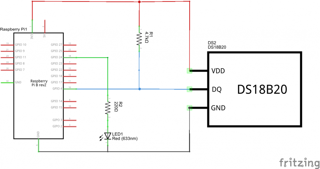 pi and ds18b20 and led_schem