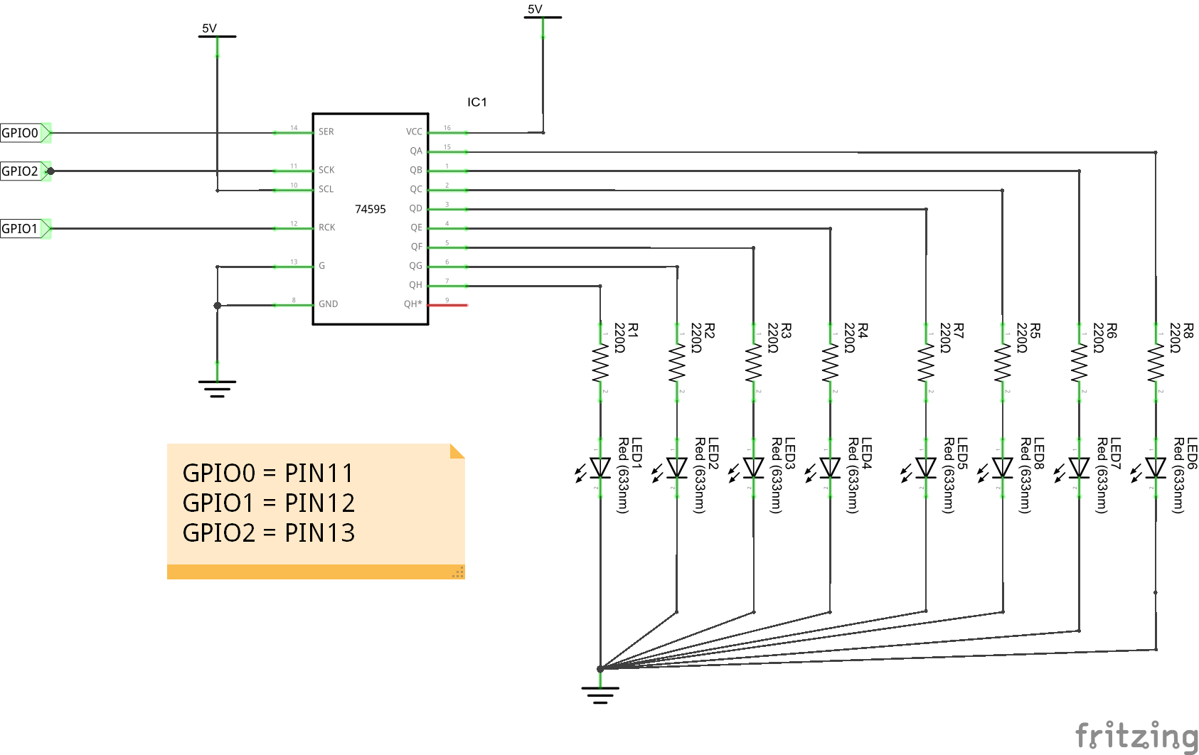 Raspberry Pi And 74hc595 Python Example Bits Wiringpi Pin Input 595 Schematic