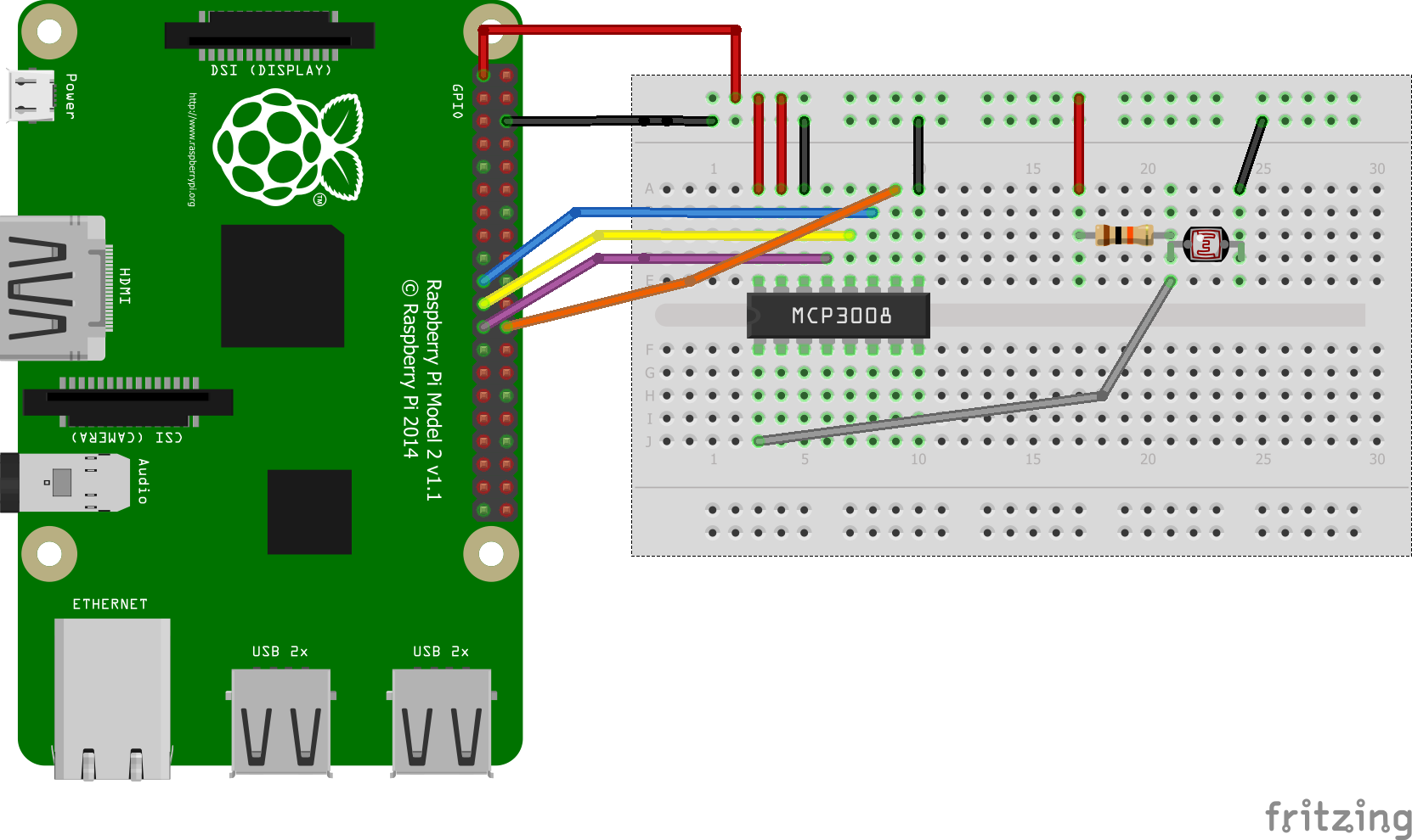 Read an ldr on the raspberry pi using an mcp3008 pi bits for Raspberry pi 3 architecture
