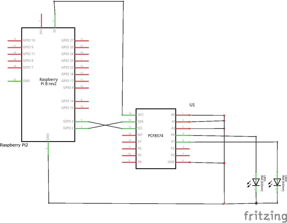 Raspberry Pi And A Pcf8574 Bits Wiringpi I2c Functions Schem
