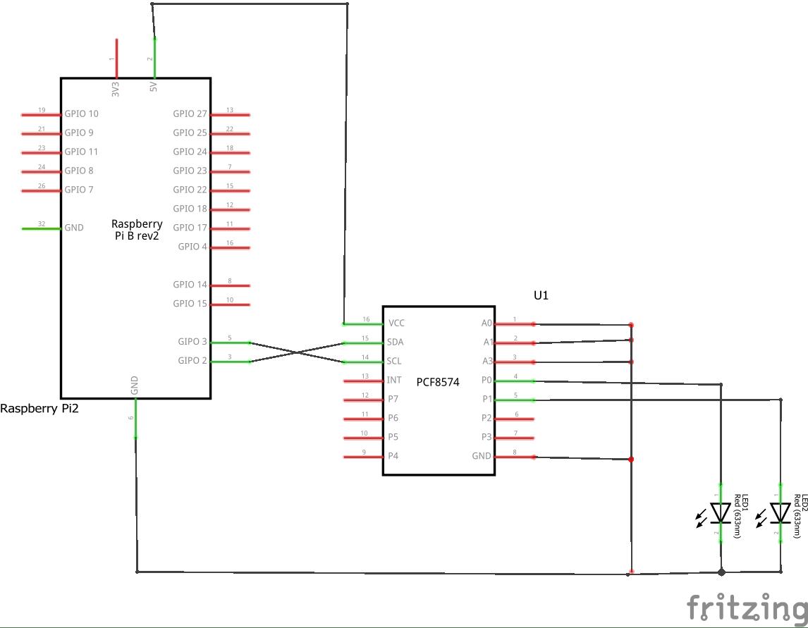 Raspberry Pi And A Pcf8574 Bits 2 Wiringpi I2c Schem
