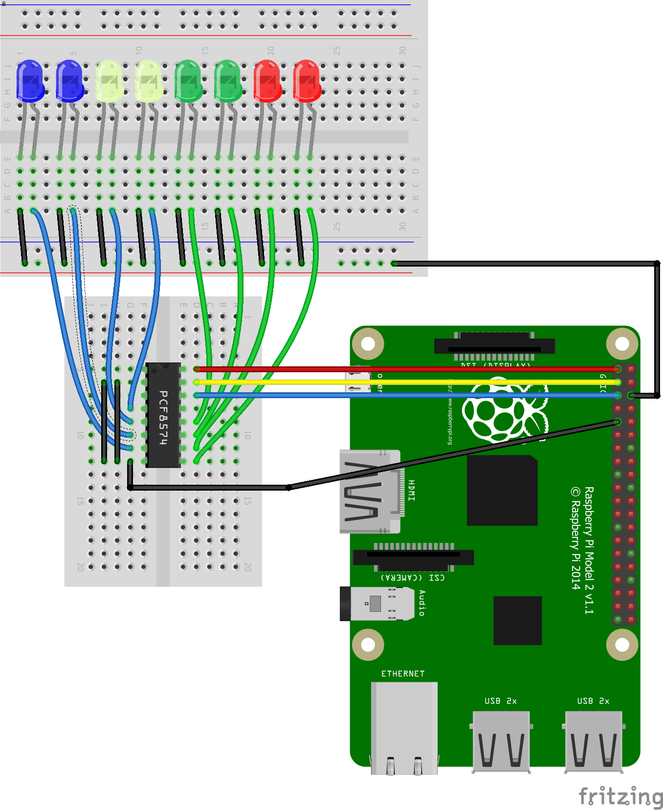 Raspberry Pi and PCF8574 example | Pi bits