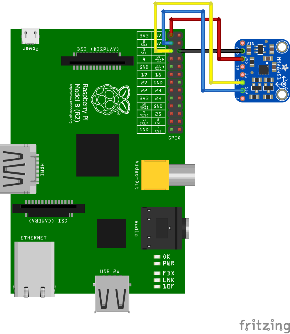 Raspberry PI and MMA8451 accelerometer example | Pi bits