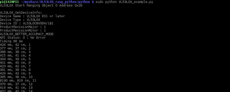 VL53L0X output